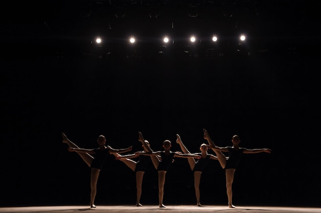 A choreographed dance of a group of graceful pretty young ballerinas practicing on stage