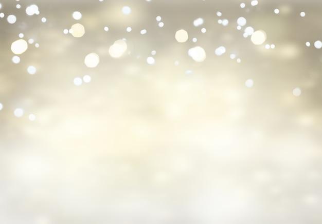 クリスマスのお祝いの銀色に輝く背景の輝きと光