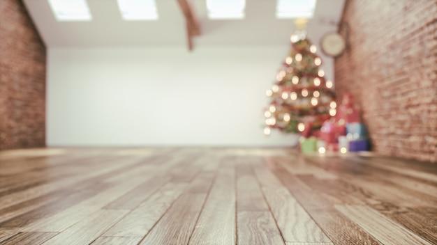 크리스마스 방과 장식. chris moss는 하얀 방에 있습니다. 3d 렌더링 및 일러스트레이션,