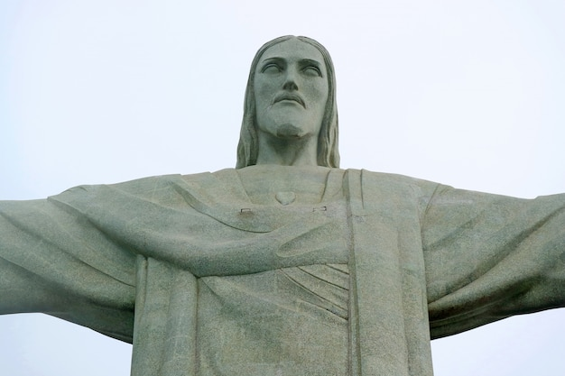Christ the redeemer, soapstone statue of jesus christ on corcovado mountain in rio de janeiro