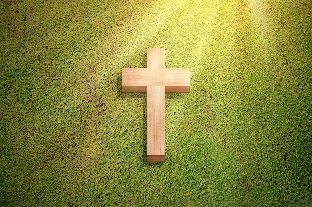 푸른 잔디에 기독교 십자가