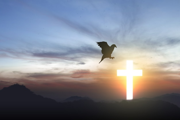 Christian cross and silhouette of pigeon with a sunrise sky