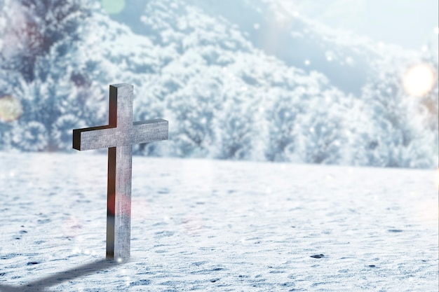 Christian cross on the snow with snowfall background
