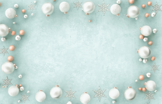 Christmas 3d decoration border frame christmas ball, snowflake on blue background. christmas, winter, new year . flat lay, top view, copyspace.