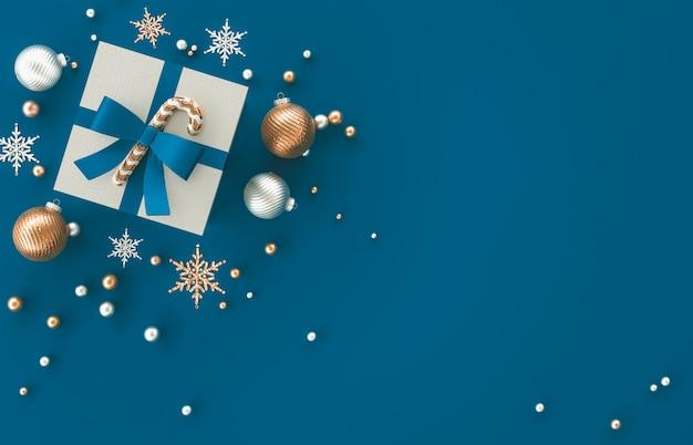 크리스마스 선물, 크리스마스 공, 파란색 배경에 눈송이와 3d 장식 구성. 크리스마스, 겨울, 새해. 평평하다, 평면도, copyspace.