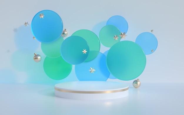 クリスマスの3dレンダリングシーンとモダンな製品ディスプレイの表彰台。