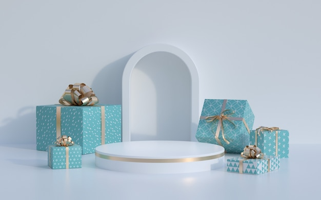 Christmas 3d rendering scene and modern product display podium.