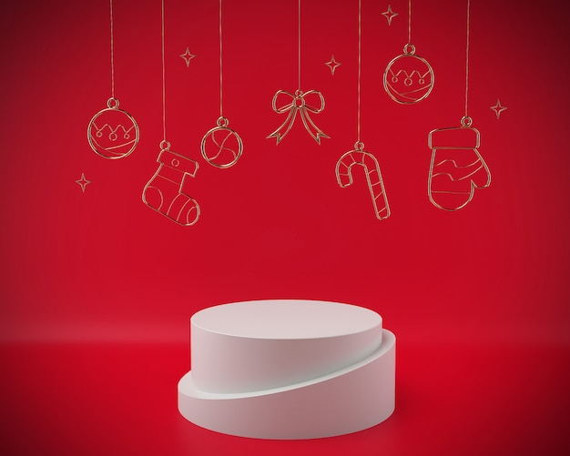 Christmas 3d rendering scene podium display with xmas objects abstract.