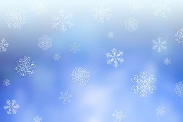 Рождественские абстрактные размытия зимой падающий снег синий горизонтальный фон боке с уникальными снежинками. размытые красивые блестящие огни. рождественские и новогодние праздники фон. место для текста.