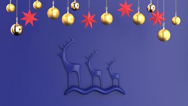 青い色調のクリスマスの抽象的な鹿とおもちゃ