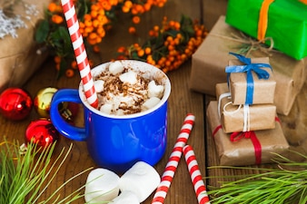 Christmas and coffee composition with presents