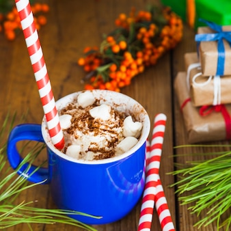 Christmas and coffee composition
