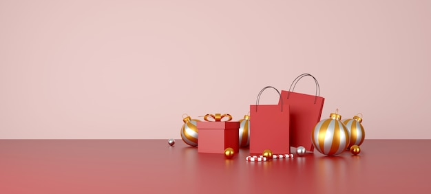 Рождественские и счастливые новогодние украшения на красном фоне