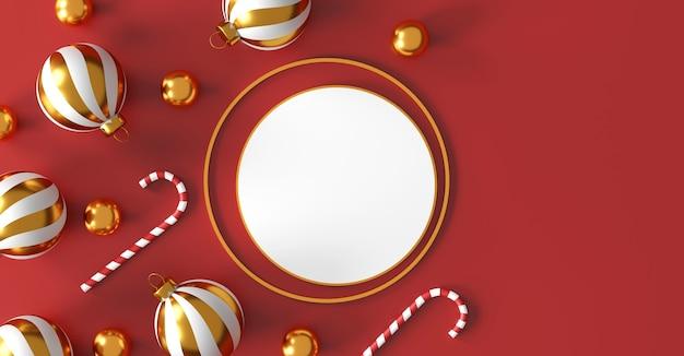 Рождественские и счастливые новогодние украшения с золотым серебряным шаром и золотой звездой на красном фоне. 3d иллюстрация