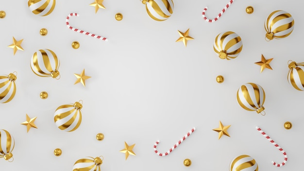 Рождественские и счастливые новогодние украшения с золотым серебряным шаром и золотой звездой на белом фоне. 3d иллюстрация