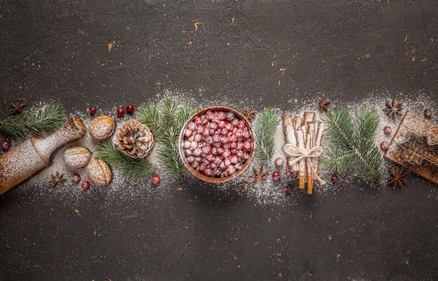 クリスマスと新年の料理のコンセプト