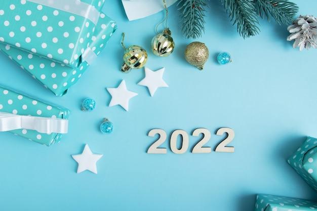 크리스마스와 새해 선물은 장식과 텍스트를 위한 장소로 포장됩니다. 크리스마스 아트 배경