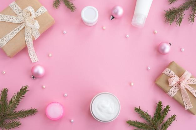 クリスマスと新年のギフト、美容とスキンケアの化粧品