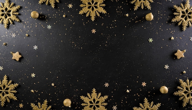 クリスマスと年末年始の背景のコンセプトは、クリスマスボール、星、金色のキラキラと雪の結晶から作られました