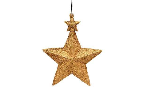 孤立した白のクリスマスと新年の黄金の五芒星