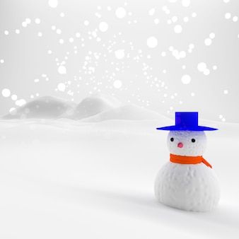 Christmas and new year snow concept Xmas or christmas party. Snowman in winter