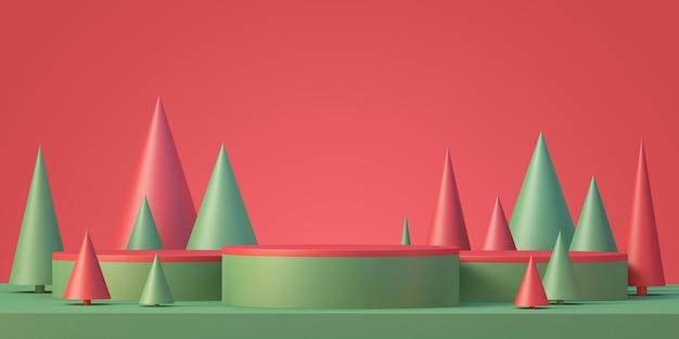 크리스마스와 새해 제품 연단 모형 디스플레이 배경, 크리스마스 트리, 3d 렌더링 배경