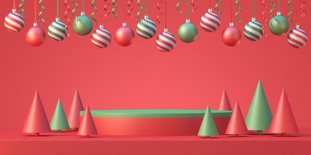크리스마스 및 새해 제품 연단 모형 디스플레이 배경에는 크리스마스 트리와 리본이 있는 크리스마스 공, 3d 렌더링 배경
