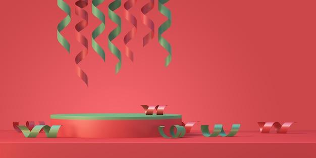 크리스마스 트리 및 리본, 3d 렌더링 배경이 있는 크리스마스 및 새해 제품 연단 모형 디스플레이 배경