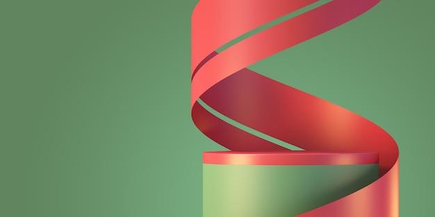 크리스마스와 새해 제품 연단 모형 디스플레이 배경 리본, 3d 렌더링 배경