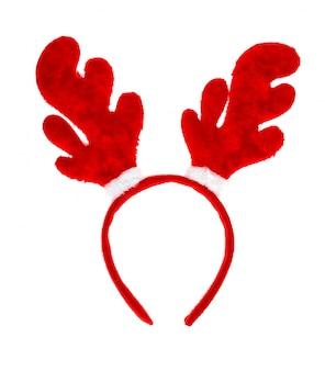 Рождественские рога оленя на белом фоне