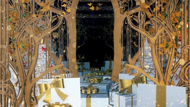 휴일에 벽지를위한 크리스마스 아르누보 선물 상자 배경 및 축하 장면