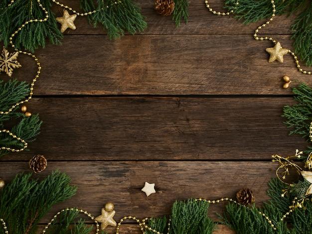 Рождественский фон и декор на деревянных