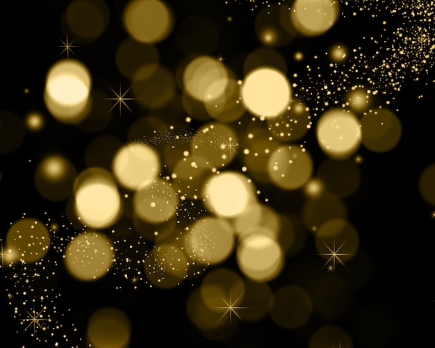 Christmas background of bokeh lights, stars and sparkle lights