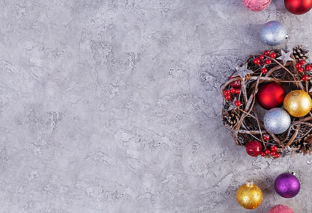 Christmas background. christmas toys and decorations on wooden table. top view