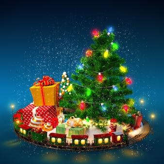 Рождественский фон. рождественская елка, подарки и железная дорога на синем