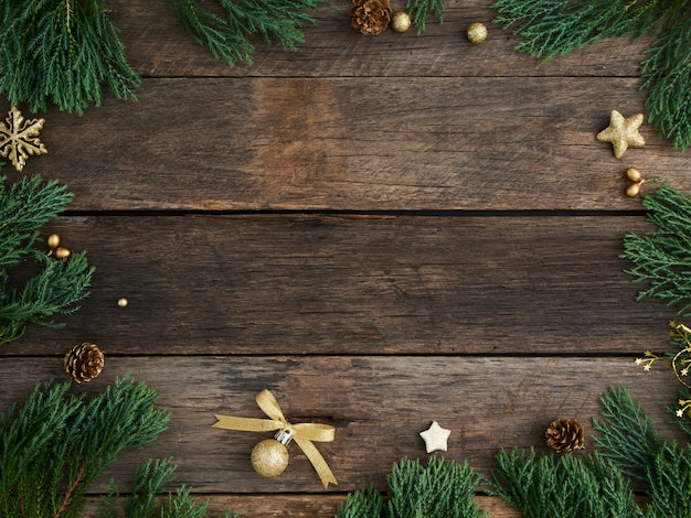 Christmas background and decor on wooden