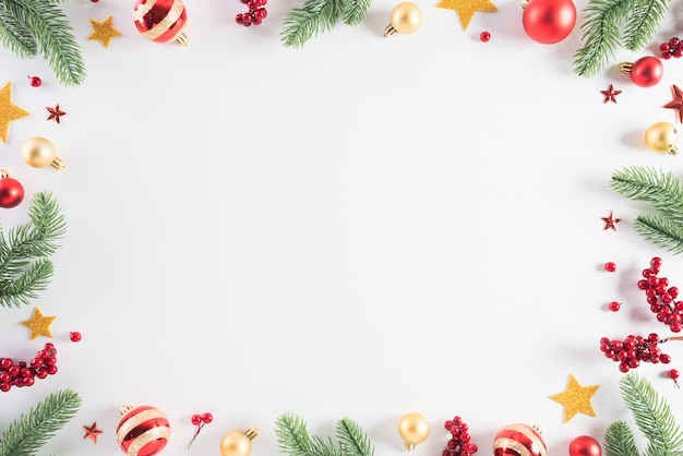 Christmas background decoration concept on white