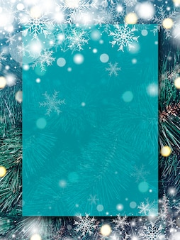Christmas background design of blank transparent board with snow and snowflake