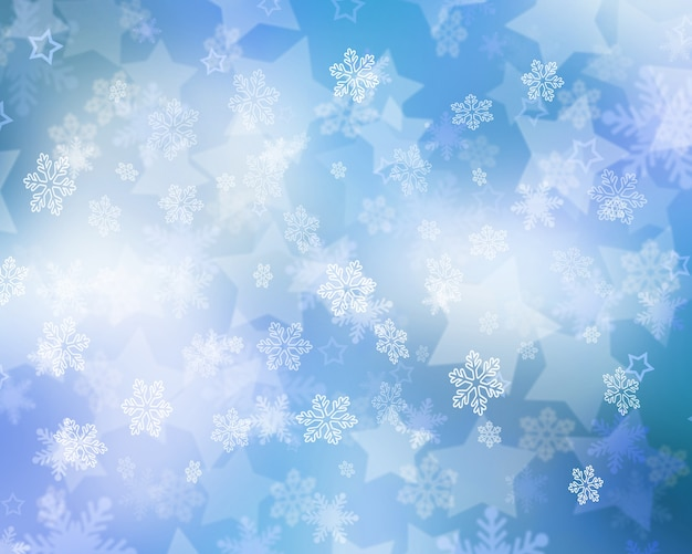 Christmas background of falling snowflakes and stars