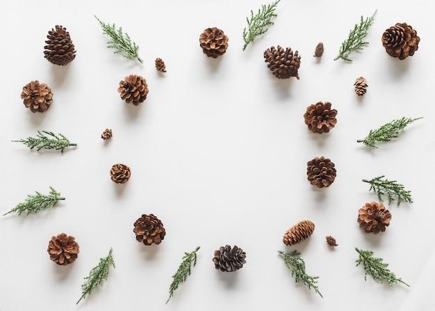 クリスマスの背景、白い背景の上にモミの枝の木の松ぼっくりとフレーム。