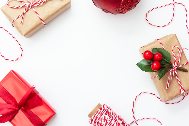 Christmas background. gift boxes over white background.