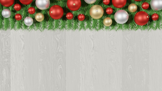 Christmas background. glossy red, gold and silver ornaments and green pine leafs.