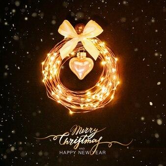Новогодний фон светящийся круг из гирлянды в виде елочной игрушки на черном фоне