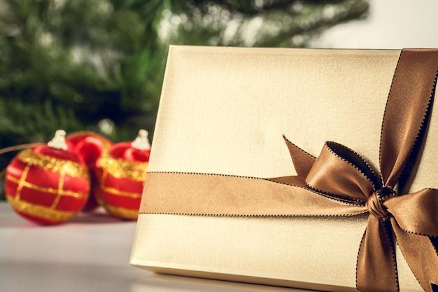 Christmas background gold gift box