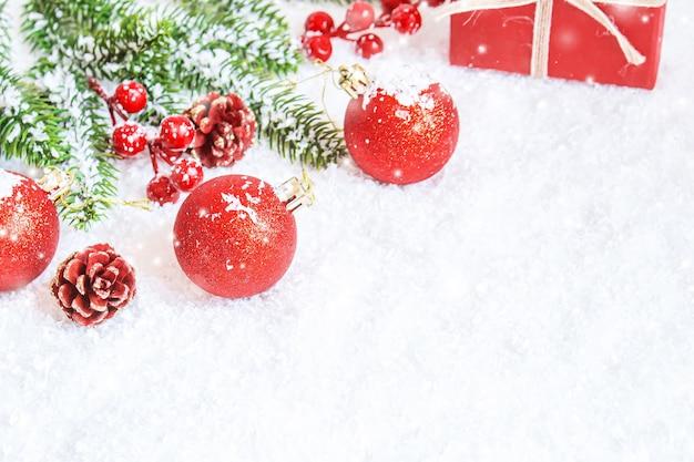クリスマスの背景。明けましておめでとうセレクティブフォーカス。
