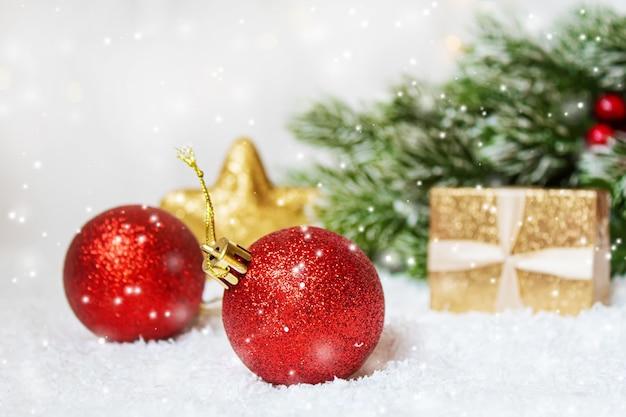 크리스마스 배경입니다. 새해 복 많이 받으세요. 선택적 집중 휴일