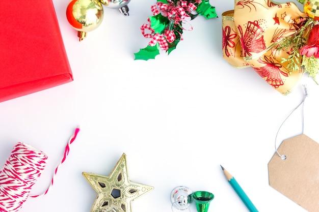Рождественские фон в вид сверху с копией пространства