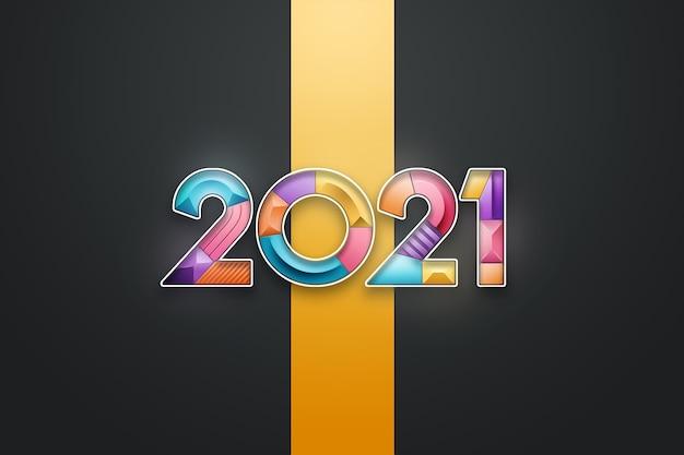 クリスマスの背景、明るい背景に色とりどりの番号を持つ碑文2021。