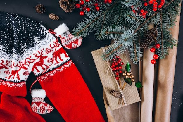 Christmas background layout on black background
