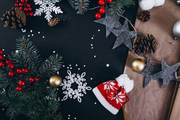 Christmas background layout on black background